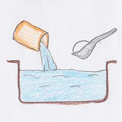 1. 水に砂糖を入れる