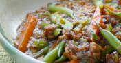 インゲンとひき肉の味噌炒め