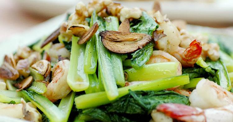 小松菜とえびのガーリック炒め
