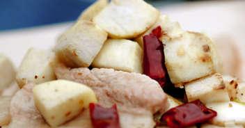 里芋と豚バラのペペロンチーノ風