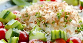 夏野菜いっぱいのおいしいお豆腐