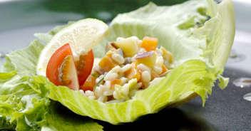 秋野菜と押し麦のサラダ 白みそ豆乳仕立て