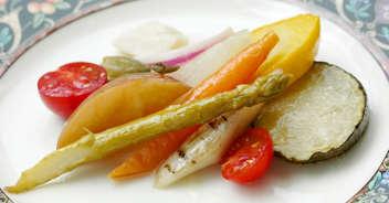ニンニクの風味をきかせた夏野菜の揚げびたし
