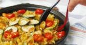 たっぷり夏野菜の簡単パエリア