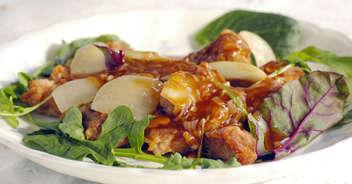 豚ひれ肉と野菜の黒酢あんかけ